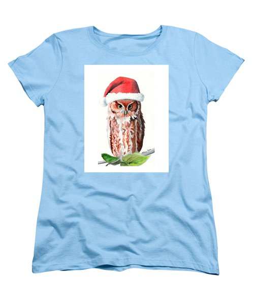 Women's T-Shirt (Standard Cut) featuring the painting Santa Owl by LeAnne Sowa