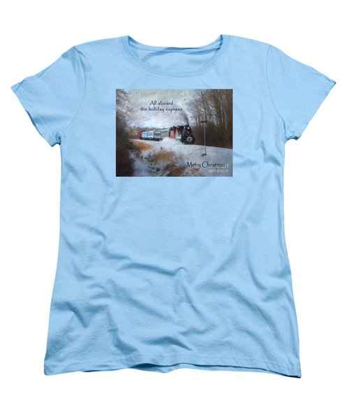 Women's T-Shirt (Standard Cut) featuring the digital art Santa Train - Waterloo Central Railway by Lianne Schneider