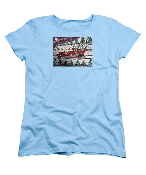 Women's T-Shirt (Standard Cut) featuring the painting Santa's Truckload by Jeffrey Koss