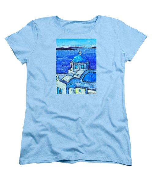 Santorini  Blue Women's T-Shirt (Standard Cut) by Ana Maria Edulescu