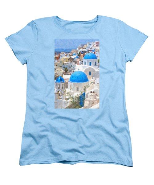 Santorini Oil Painting Women's T-Shirt (Standard Cut) by Antony McAulay