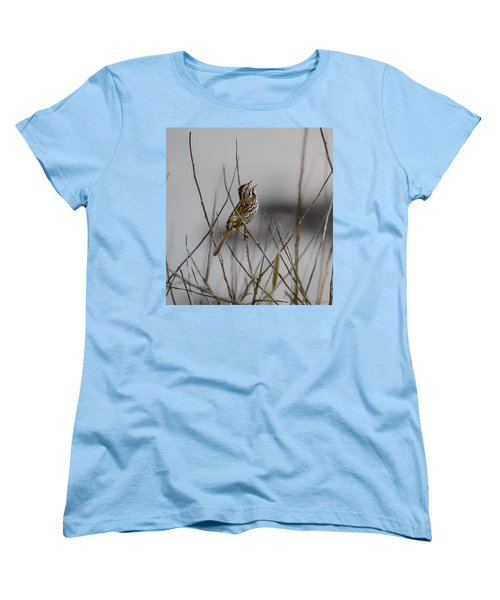 Women's T-Shirt (Standard Cut) featuring the photograph Savannah Sparrow by Marty Saccone