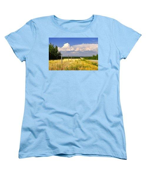 Women's T-Shirt (Standard Cut) featuring the photograph Sawmill Creek Road by Cathy Mahnke