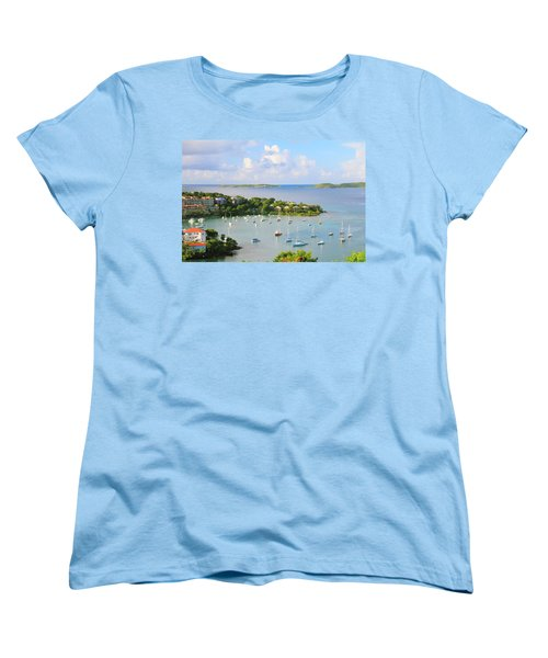 Scenic Overlook Of Cruz Bay St. John Usvi Women's T-Shirt (Standard Cut) by Roupen  Baker