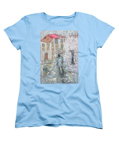 Women's T-Shirt (Standard Cut) featuring the painting Scent Of Spring by Evelina Popilian