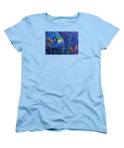 Sea Horse And Blue Fish Women's T-Shirt (Standard Cut) by Anne Marie Brown