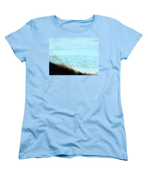 Women's T-Shirt (Standard Cut) featuring the drawing Sea Oats In The Wind Drawing by D Hackett