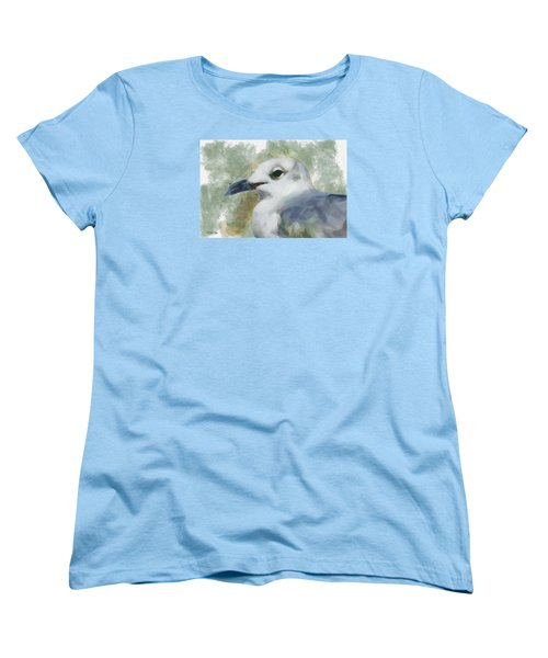 Women's T-Shirt (Standard Cut) featuring the painting Seagull Closeup by Greg Collins