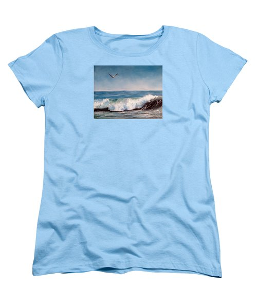 Seagull With Wave  Women's T-Shirt (Standard Cut) by Lee Piper