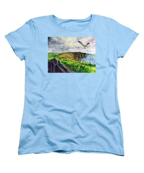 Seagulls At The Cliffs Of Moher Women's T-Shirt (Standard Cut) by John D Benson