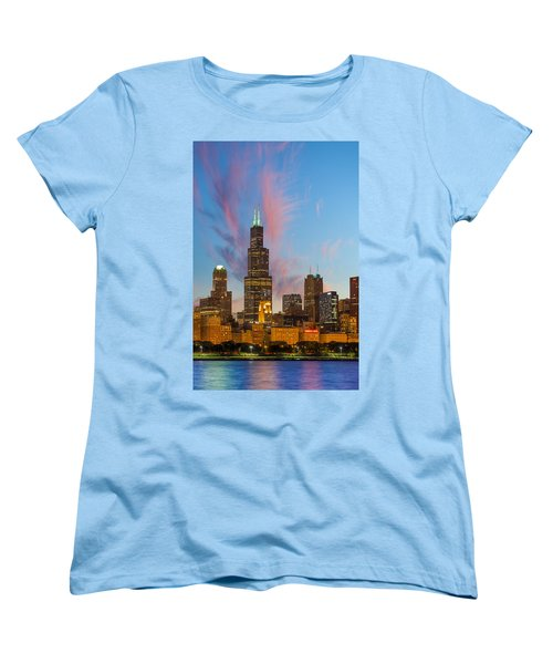 Women's T-Shirt (Standard Cut) featuring the photograph Sears Tower Sunset by Sebastian Musial