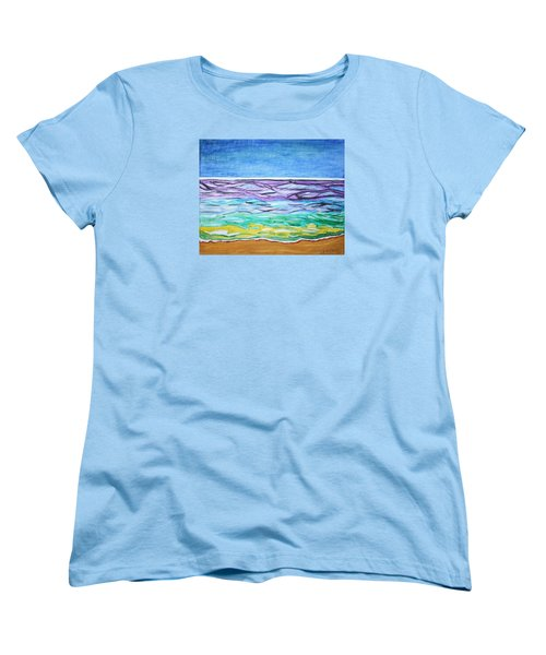 Women's T-Shirt (Standard Cut) featuring the painting Seashore Blue Sky by Stormm Bradshaw