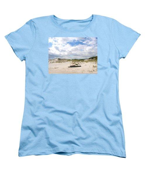 Women's T-Shirt (Standard Cut) featuring the photograph Seaside Driftwood And Dunes by Pamela Hyde Wilson