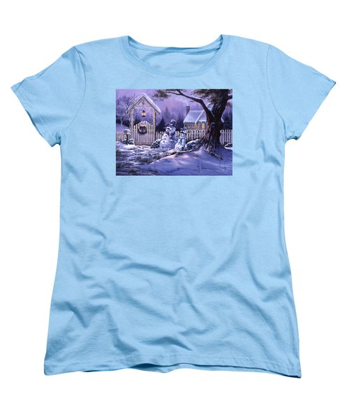 Women's T-Shirt (Standard Cut) featuring the painting Season's Greeters by Michael Humphries