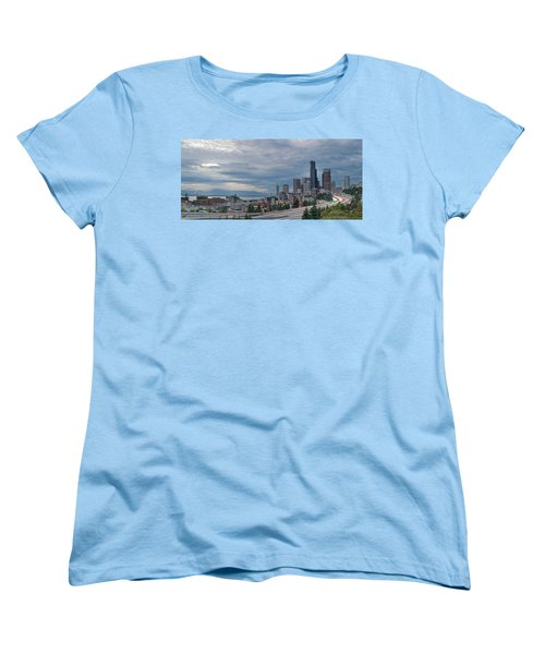Women's T-Shirt (Standard Cut) featuring the photograph Seattle Downtown Skyline And Freeway Panorama by JPLDesigns