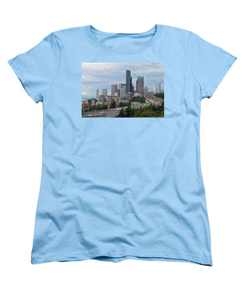 Women's T-Shirt (Standard Cut) featuring the photograph Seattle Downtown Skyline On A Cloudy Day by JPLDesigns
