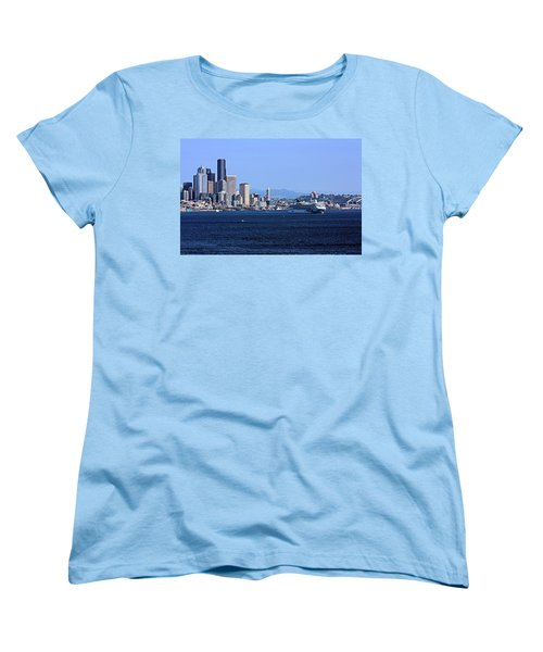 Women's T-Shirt (Standard Cut) featuring the photograph Seattle Skyscrapers by Kristin Elmquist
