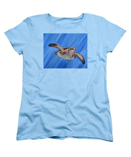 Seaturtle Women's T-Shirt (Standard Cut) by Steve Ozment