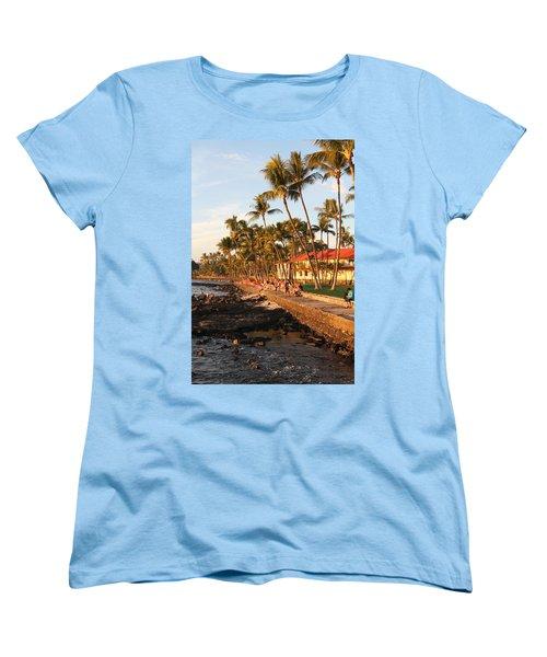 Seawall At Sunset Women's T-Shirt (Standard Cut) by Denise Bird