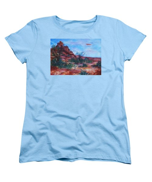 Sedona Red Rocks - Impression Of Bell Rock Women's T-Shirt (Standard Cut) by Ellen Levinson