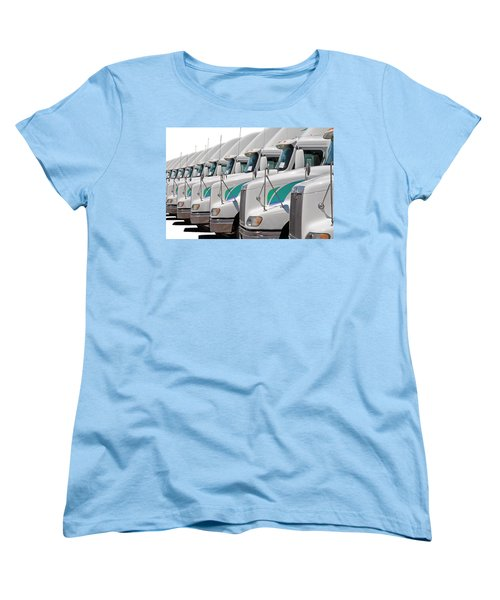 Semi Truck Fleet Women's T-Shirt (Standard Cut) by Gunter Nezhoda