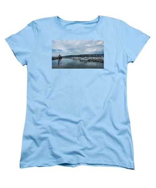 Seneca Lake Harbor - Watkins Glen - Wide Angle Women's T-Shirt (Standard Cut)