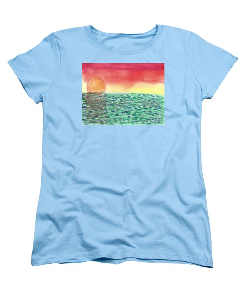 Women's T-Shirt (Standard Cut) featuring the painting Setting Sea by John Williams