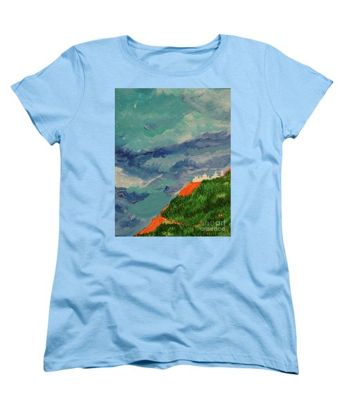 Women's T-Shirt (Standard Cut) featuring the painting Shangri-la by First Star Art
