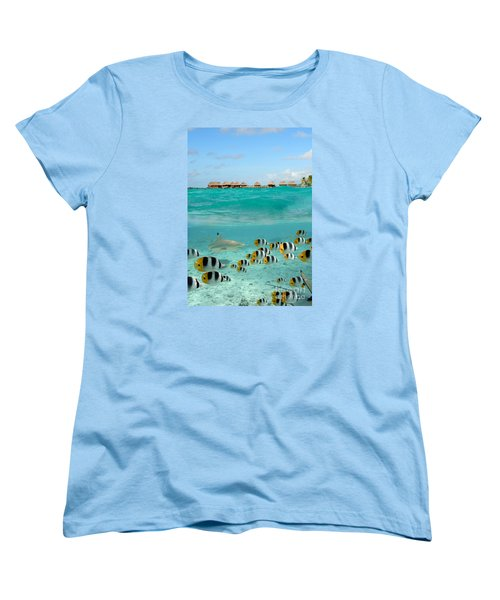 Over-under With Shark And Butterfly Fish At Bora Bora Women's T-Shirt (Standard Cut)