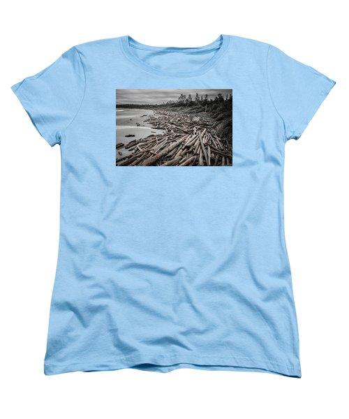 Shoved Ashore Driftwood  Women's T-Shirt (Standard Cut) by Roxy Hurtubise