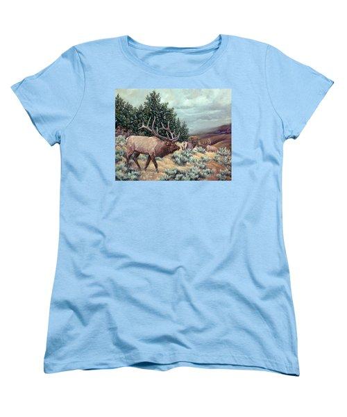 Women's T-Shirt (Standard Cut) featuring the painting Showdown by Craig T Burgwardt