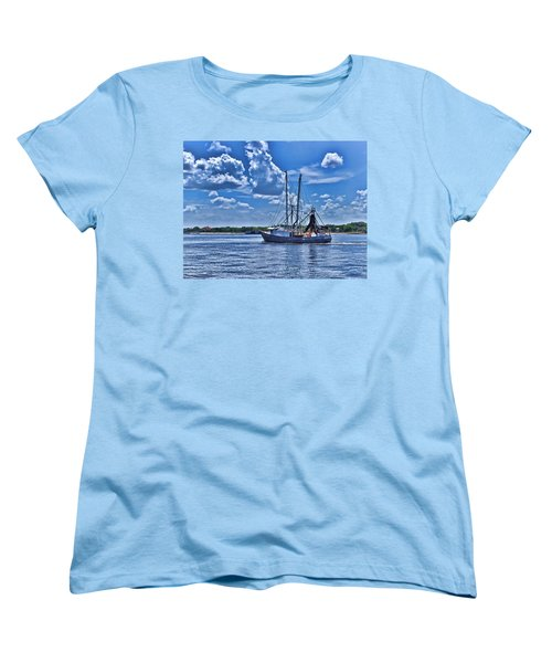 Shrimp Boat Heading To Sea Women's T-Shirt (Standard Cut) by Ludwig Keck