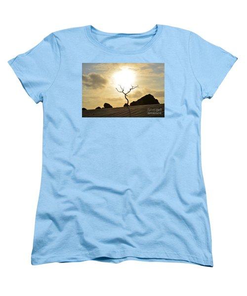 Silhouetted Tree At Dawn In Aruba Women's T-Shirt (Standard Cut) by DejaVu Designs
