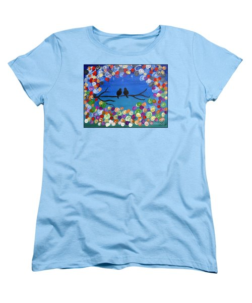 Women's T-Shirt (Standard Cut) featuring the painting Singing To The Stars Tree Bird Art Painting Print by Ella Kaye Dickey