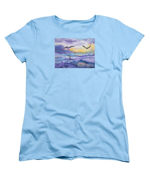 Women's T-Shirt (Standard Cut) featuring the painting Sister Ravens by Ellen Levinson
