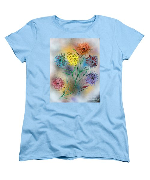 Women's T-Shirt (Standard Cut) featuring the painting Six Flowers by Greg Moores