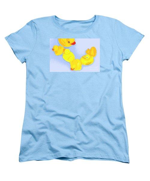 Women's T-Shirt (Standard Cut) featuring the digital art Six Rubber Ducks by Valerie Reeves