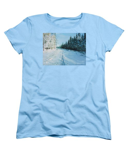 Women's T-Shirt (Standard Cut) featuring the painting Ski Tracks by Martin Howard
