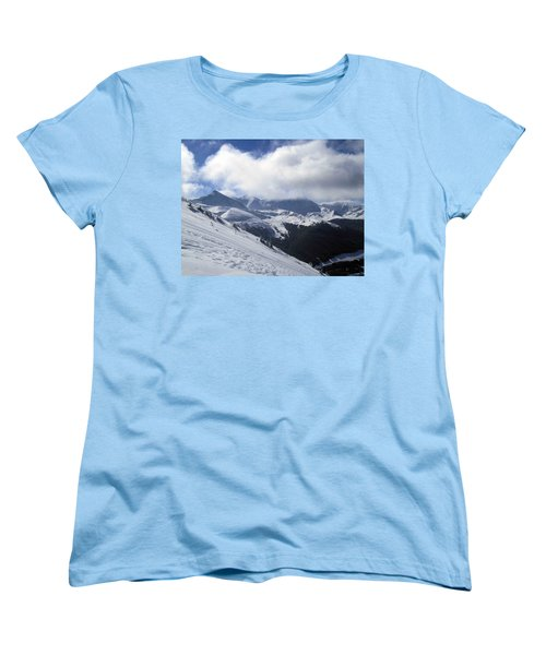 Skiing With A View Women's T-Shirt (Standard Cut) by Fiona Kennard