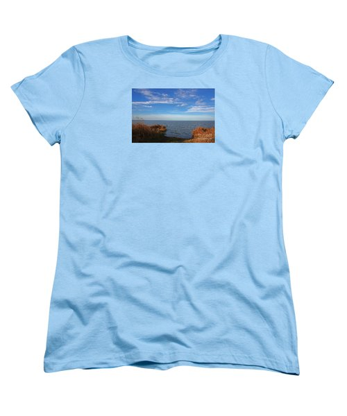 Women's T-Shirt (Standard Cut) featuring the photograph Sky Water And Grasses by Nareeta Martin