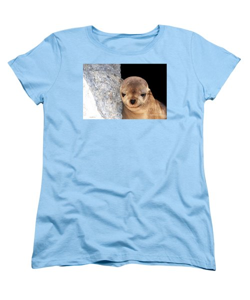 Women's T-Shirt (Standard Cut) featuring the photograph Sleepy Baby Sea Lion by Susan Wiedmann