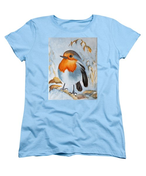 Women's T-Shirt (Standard Cut) featuring the painting Small Bird by Inese Poga