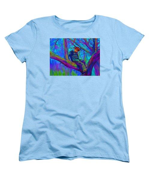 Small Boy In Large Tree Women's T-Shirt (Standard Cut) by Hidden  Mountain