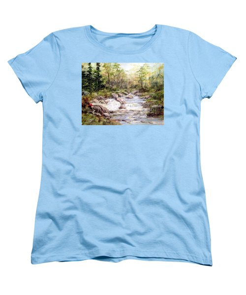 Women's T-Shirt (Standard Cut) featuring the painting Small Falls In The Forest by Dorothy Maier