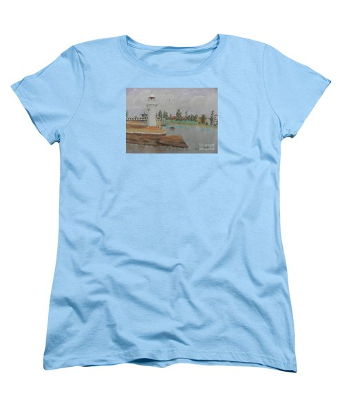 Small Lighthouse At Wollongong Harbour Women's T-Shirt (Standard Cut) by Pamela  Meredith