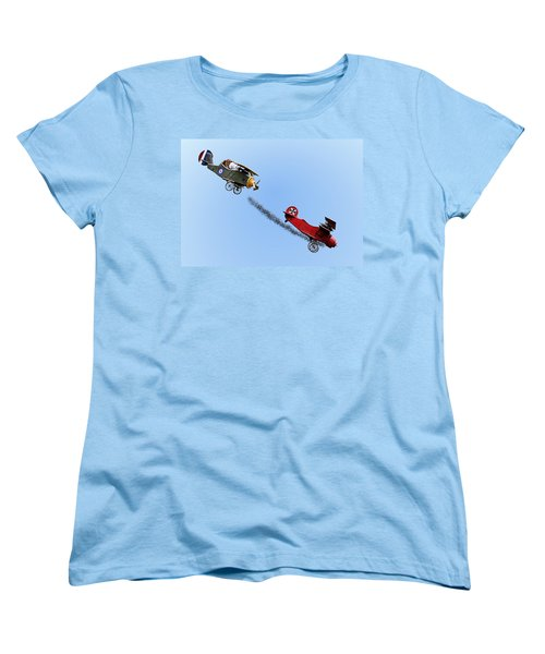 Snoopy And The Red Baron Women's T-Shirt (Standard Cut) by Kristin Elmquist