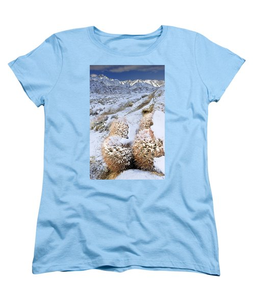 Women's T-Shirt (Standard Cut) featuring the photograph Snow Covered Cactus Below Mount Whitney Eastern Sierras by Dave Welling