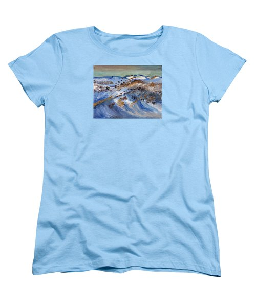 Women's T-Shirt (Standard Cut) featuring the painting Snow Covered Sand Dunes Of Cape Cod by Michael Helfen