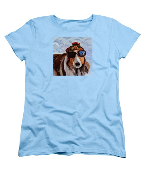 Women's T-Shirt (Standard Cut) featuring the painting Snow Dog by Pattie Wall
