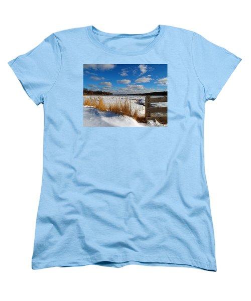 Women's T-Shirt (Standard Cut) featuring the photograph Snow Marsh by Dianne Cowen
